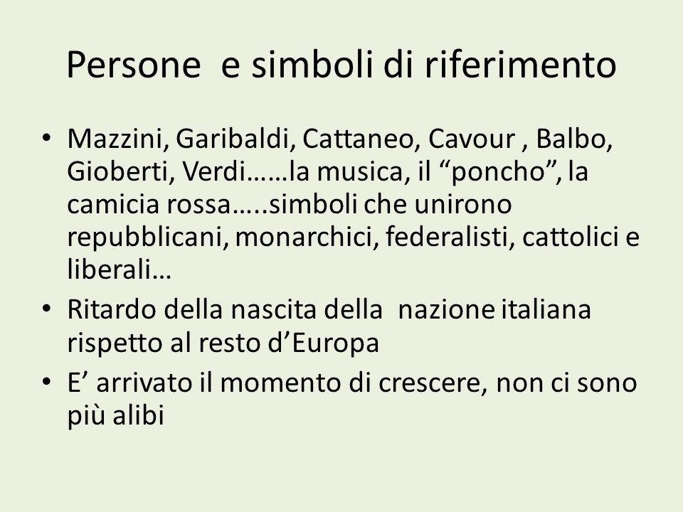 Persone e simboli di riferimento Mazzini, Garibaldi, Cattaneo, Cavour, Balbo, Gioberti, Verdi……la musica, il poncho, la camicia rossa…..simboli che un