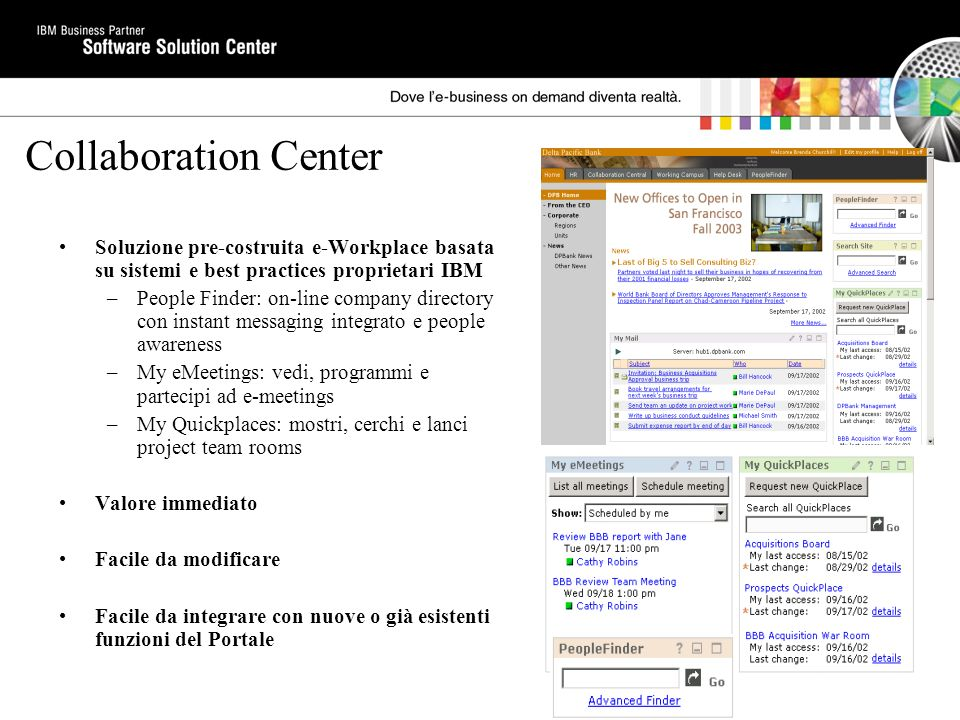 Collaboration Center Soluzione pre-costruita e-Workplace basata su sistemi e best practices proprietari IBM –People Finder: on-line company directory con instant messaging integrato e people awareness –My eMeetings: vedi, programmi e partecipi ad e-meetings –My Quickplaces: mostri, cerchi e lanci project team rooms Valore immediato Facile da modificare Facile da integrare con nuove o già esistenti funzioni del Portale