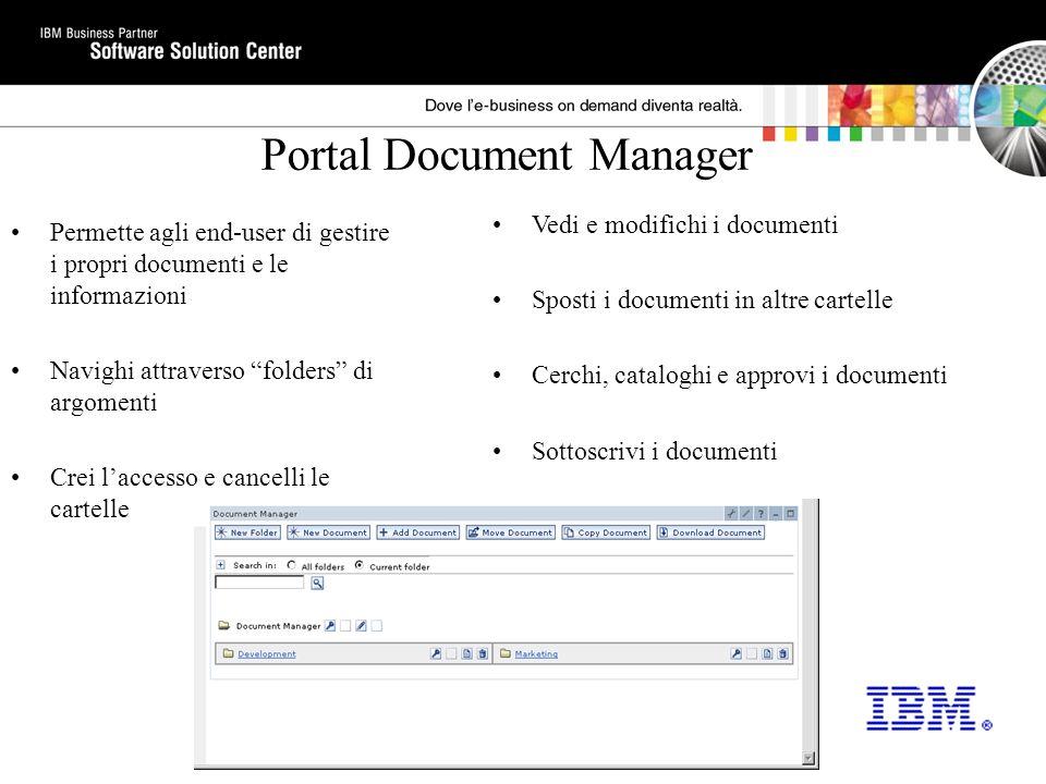 Motore di ricerca del Portale Siti Web di ricerca e Portal Document Manager Funzioni: –Document Filters (MS Office, Lotus 1-2-3, etc) –Summarization –Catalogazione –Ricerca di Metadati –Librerie di Tag e servizi portlet per sviluppare portlets di ricerca personalizzati