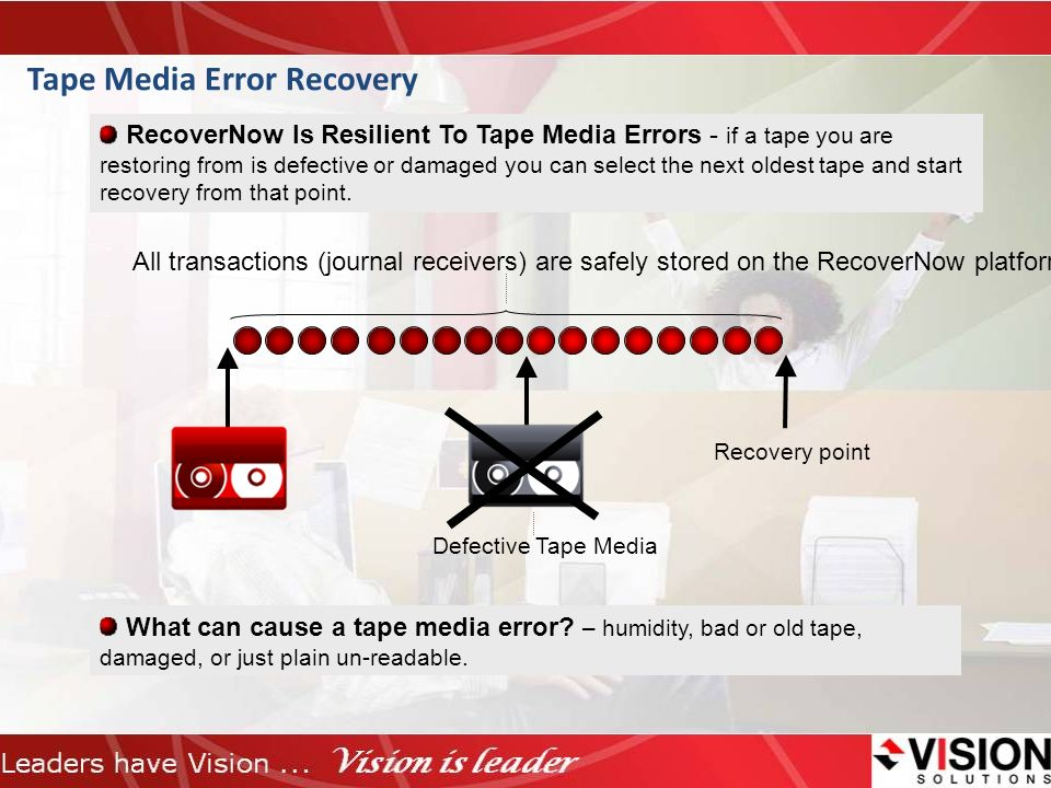 Tape Media Error Recovery RecoverNow Is Resilient To Tape Media Errors - if a tape you are restoring from is defective or damaged you can select the n