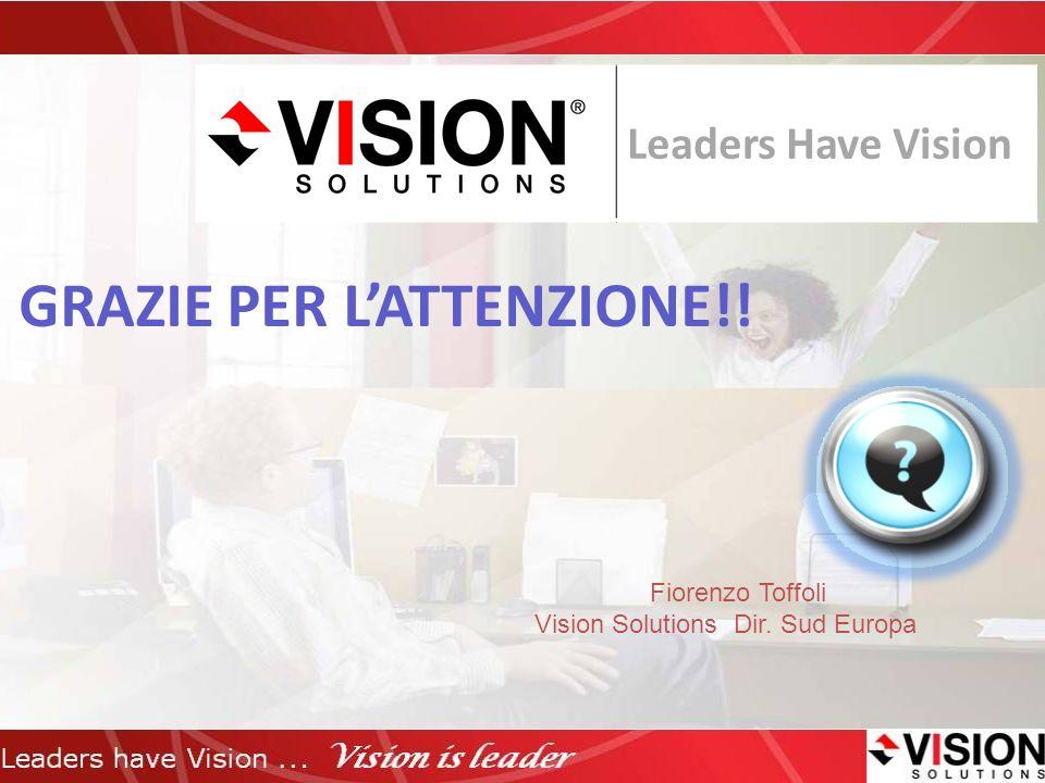 GRAZIE PER LATTENZIONE!! Leaders Have Vision Fiorenzo Toffoli Vision Solutions Dir. Sud Europa