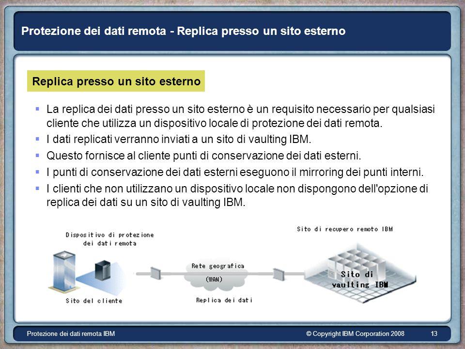 © Copyright IBM Corporation 2008Protezione dei dati remota IBM 13 Protezione dei dati remota - Replica presso un sito esterno Replica presso un sito esterno La replica dei dati presso un sito esterno è un requisito necessario per qualsiasi cliente che utilizza un dispositivo locale di protezione dei dati remota.