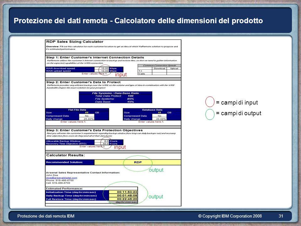 © Copyright IBM Corporation 2008Protezione dei dati remota IBM 31 Protezione dei dati remota - Calcolatore delle dimensioni del prodotto input output = campi di input = campi di output