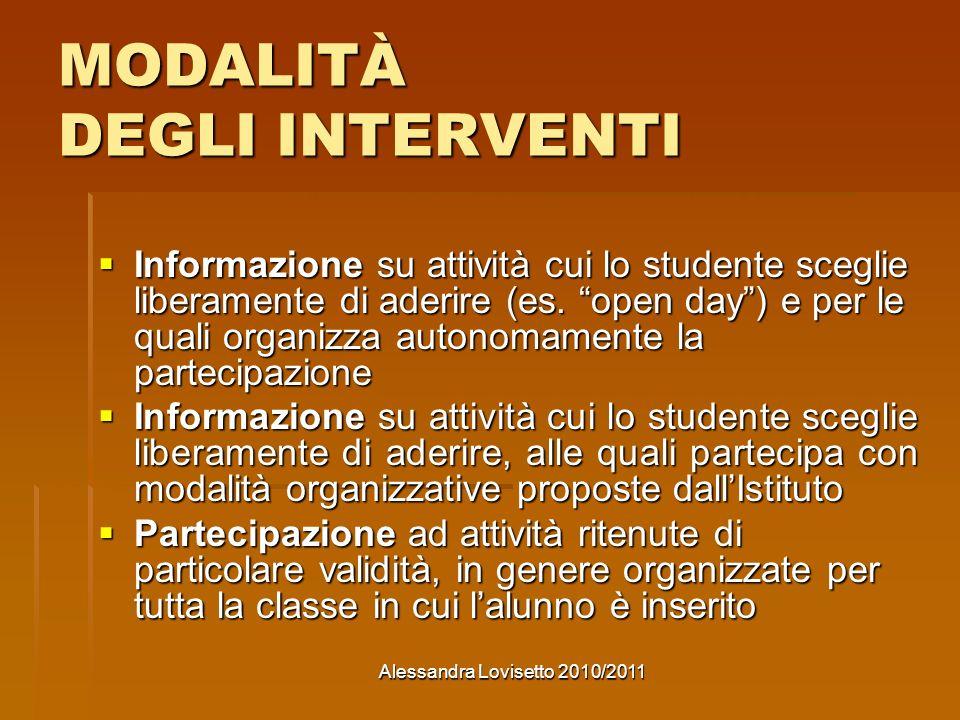 Alessandra Lovisetto 2010/2011 MODALITÀ DEGLI INTERVENTI Informazione su attività cui lo studente sceglie liberamente di aderire (es.