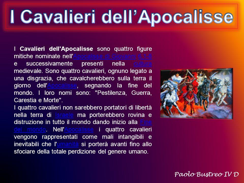 I Cavalieri dell Apocalisse sono quattro figure mitiche nominate nell Apocalisse di Giovanni 6,1-8 e successivamente presenti nella cultura medievale.