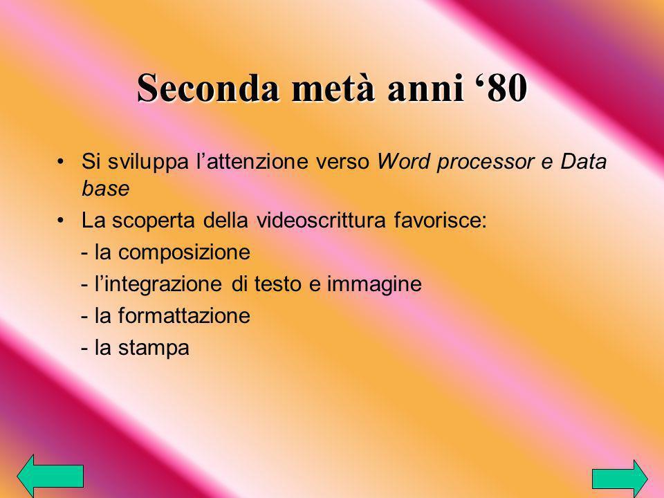 Seconda metà anni 80 Si sviluppa lattenzione verso Word processor e Data base La scoperta della videoscrittura favorisce: - la composizione - lintegrazione di testo e immagine - la formattazione - la stampa