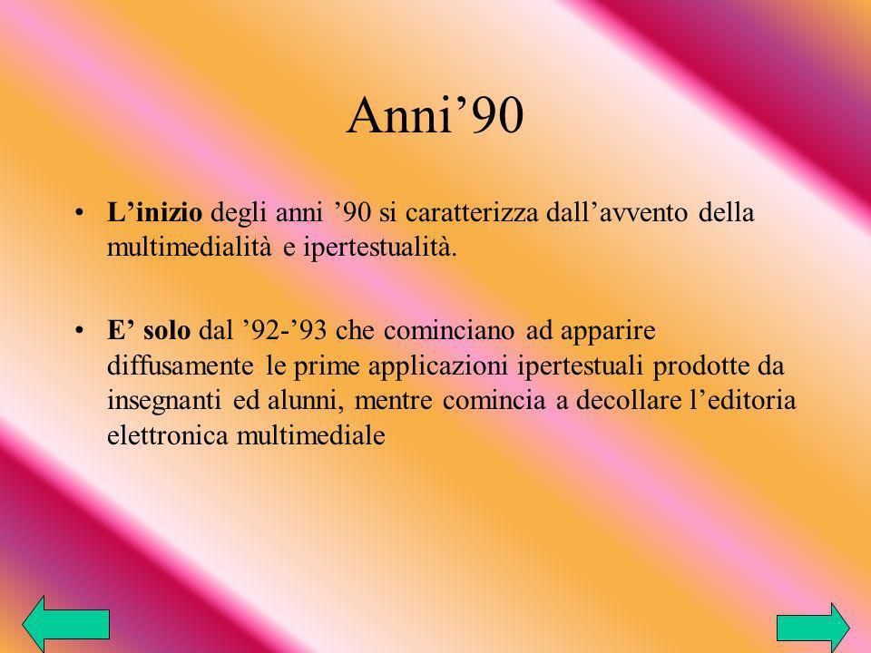 Anni90 Linizio degli anni 90 si caratterizza dallavvento della multimedialità e ipertestualità.