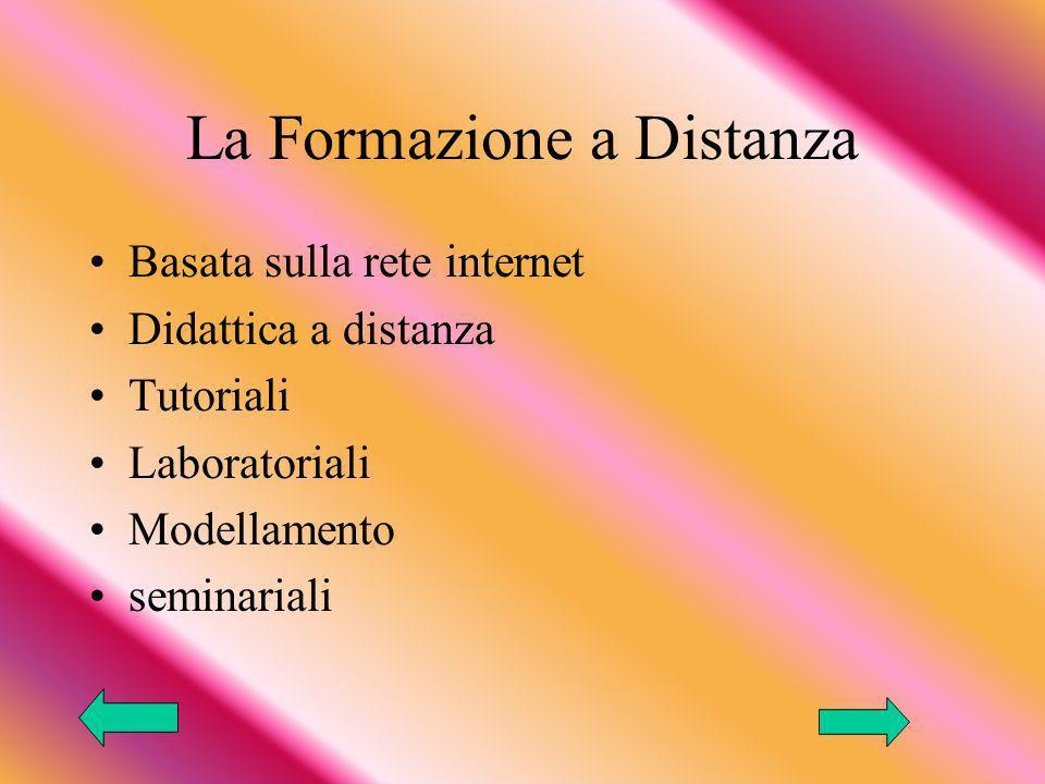 La Formazione a Distanza Basata sulla rete internet Didattica a distanza Tutoriali Laboratoriali Modellamento seminariali