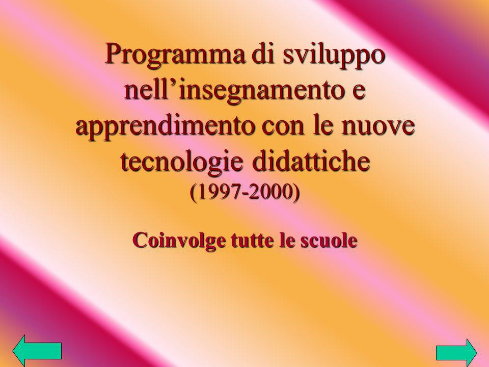 Programma di sviluppo nellinsegnamento e apprendimento con le nuove tecnologie didattiche (1997-2000) Coinvolge tutte le scuole