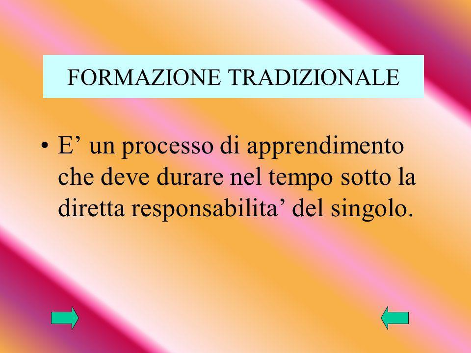 FORMAZIONE TRADIZIONALE E un processo di apprendimento che deve durare nel tempo sotto la diretta responsabilita del singolo.