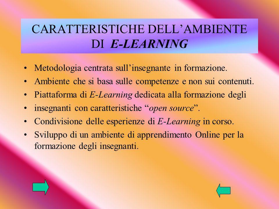 CARATTERISTICHE DELLAMBIENTE DI E-LEARNING Metodologia centrata sullinsegnante in formazione.