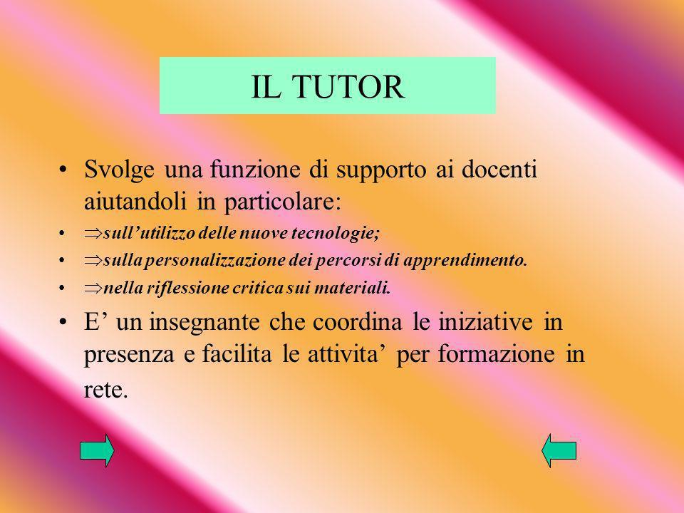 IL TUTOR Svolge una funzione di supporto ai docenti aiutandoli in particolare: sullutilizzo delle nuove tecnologie; sulla personalizzazione dei percorsi di apprendimento.