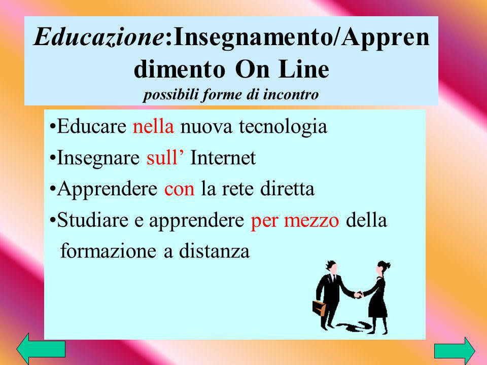 Educazione:Insegnamento/Appren dimento On Line possibili forme di incontro Educare nella nuova tecnologia Insegnare sull Internet Apprendere con la rete diretta Studiare e apprendere per mezzo della formazione a distanza