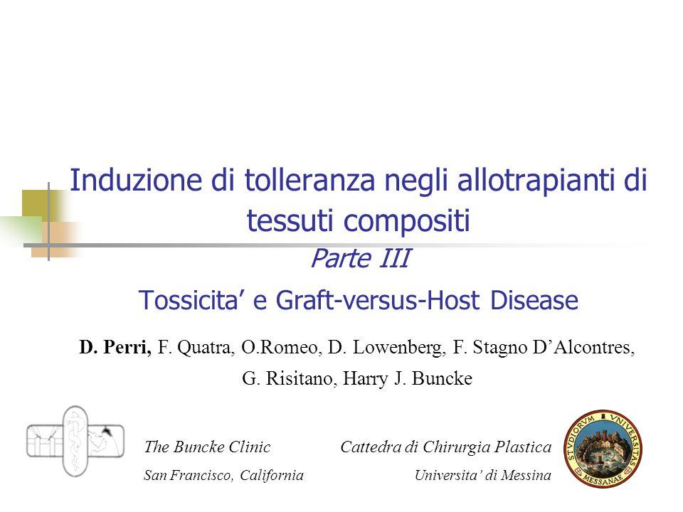Induzione di tolleranza negli allotrapianti di tessuti compositi Parte III Tossicita e Graft-versus-Host Disease D.