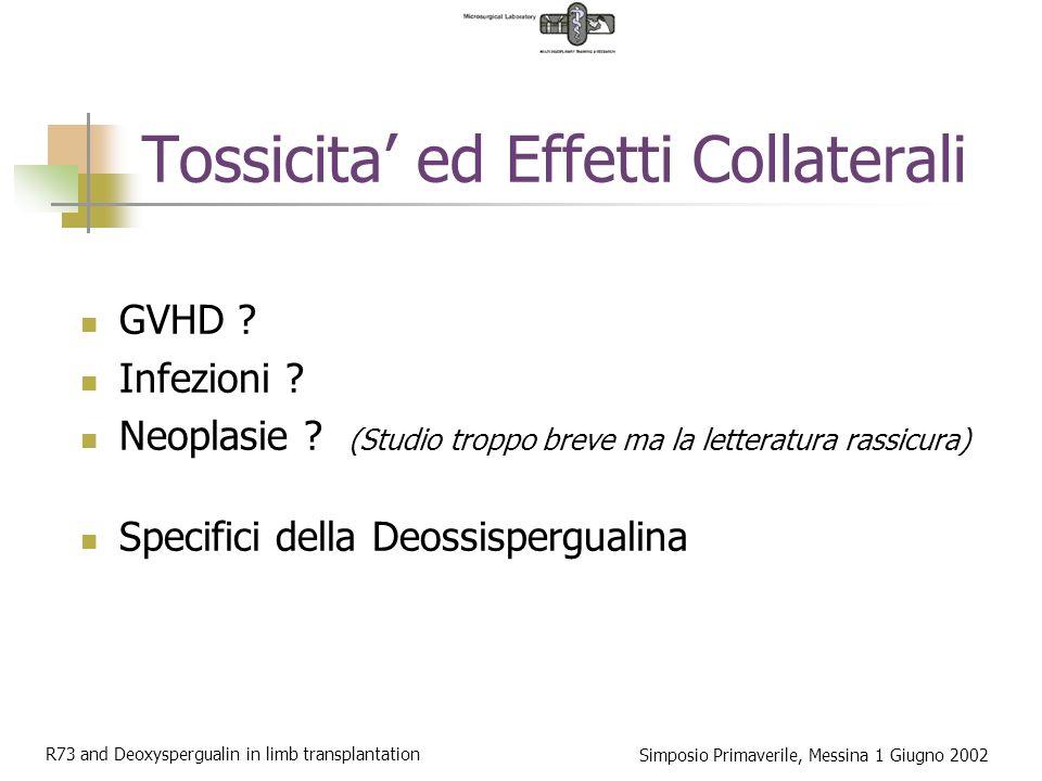 R73 and Deoxyspergualin in limb transplantation Simposio Primaverile, Messina 1 Giugno 2002 Tossicita ed Effetti Collaterali GVHD .