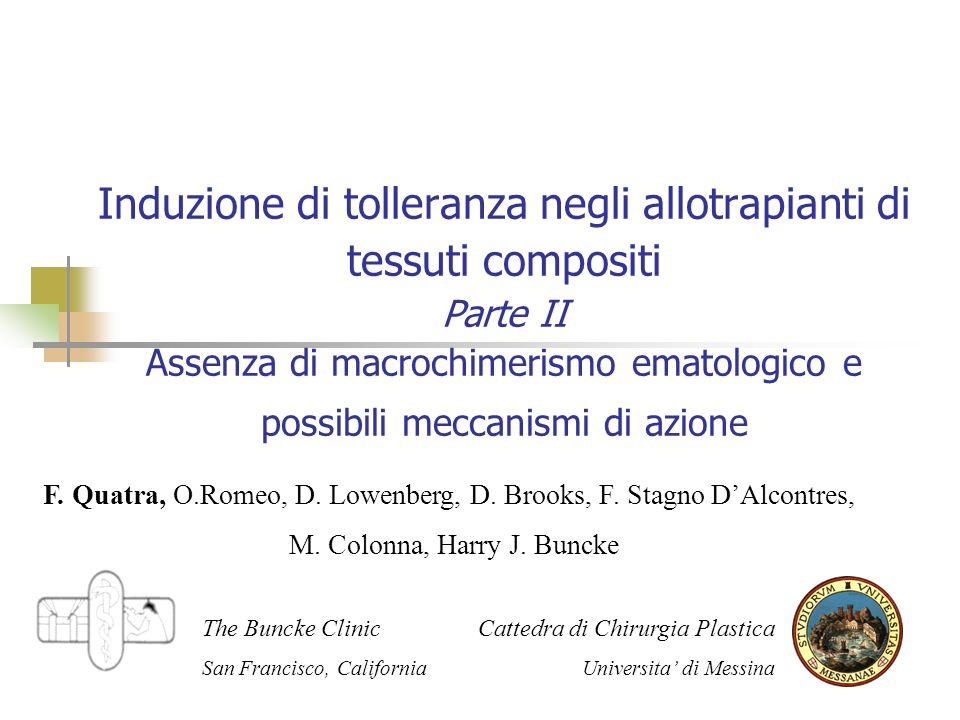 Induzione di tolleranza negli allotrapianti di tessuti compositi Parte II Assenza di macrochimerismo ematologico e possibili meccanismi di azione F.