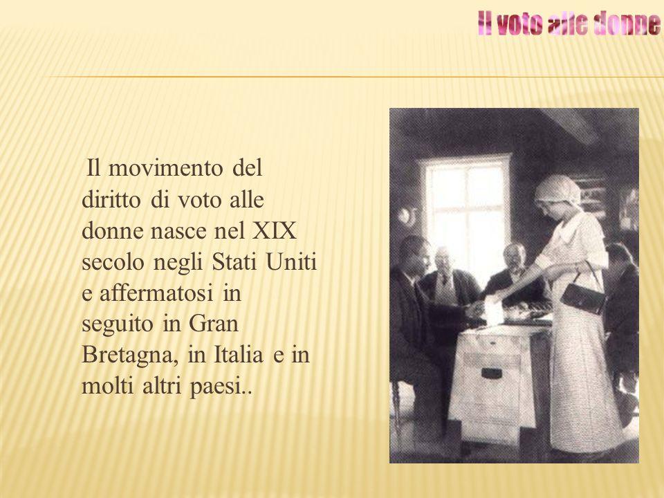 Il movimento del diritto di voto alle donne nasce nel XIX secolo negli Stati Uniti e affermatosi in seguito in Gran Bretagna, in Italia e in molti alt