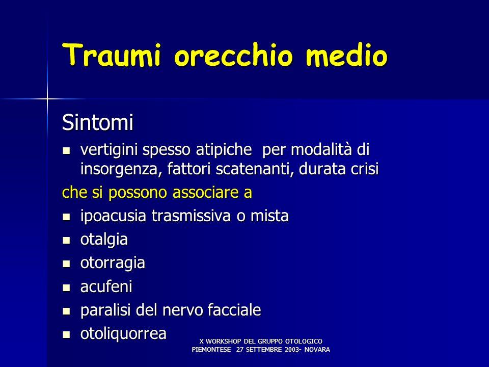 X WORKSHOP DEL GRUPPO OTOLOGICO PIEMONTESE 27 SETTEMBRE 2003- NOVARA Traumi orecchio medio Sintomi vertigini spesso atipiche per modalità di insorgenz
