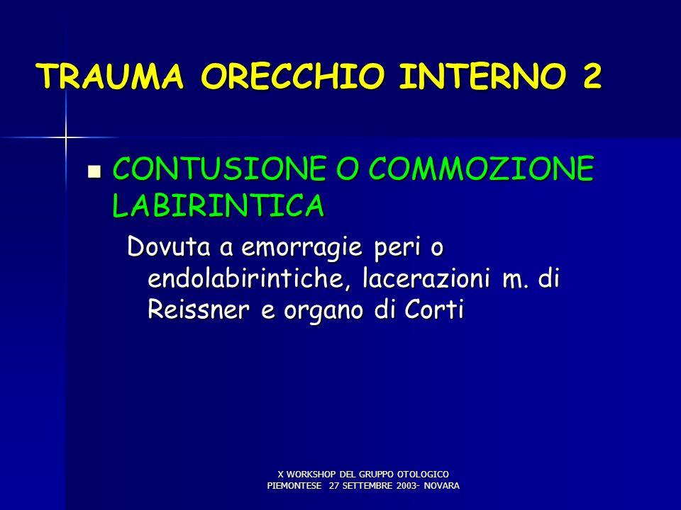 X WORKSHOP DEL GRUPPO OTOLOGICO PIEMONTESE 27 SETTEMBRE 2003- NOVARA TRAUMA ORECCHIO INTERNO 2 CONTUSIONE O COMMOZIONE LABIRINTICA CONTUSIONE O COMMOZIONE LABIRINTICA Dovuta a emorragie peri o endolabirintiche, lacerazioni m.