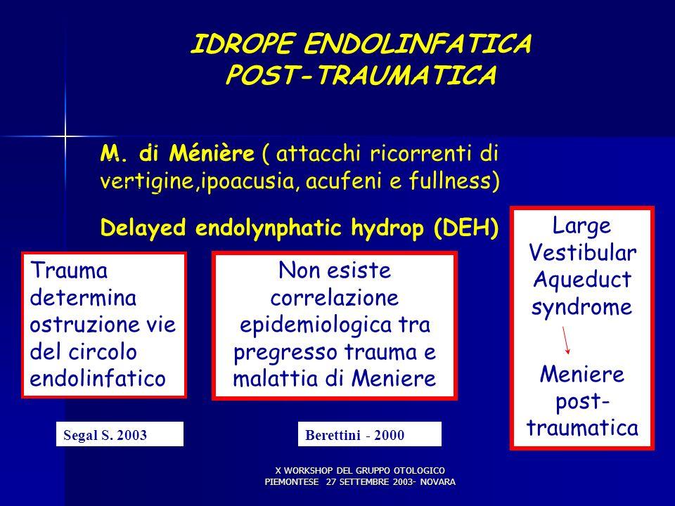 X WORKSHOP DEL GRUPPO OTOLOGICO PIEMONTESE 27 SETTEMBRE 2003- NOVARA DANNO LABIRINTICO (5) IDROPE ENDOLINFATICA POST-TRAUMATICA M. di Ménière ( attacc