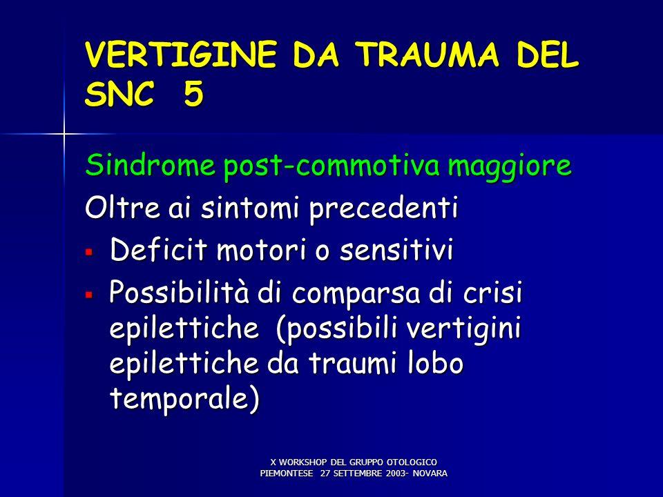 X WORKSHOP DEL GRUPPO OTOLOGICO PIEMONTESE 27 SETTEMBRE 2003- NOVARA VERTIGINE DA TRAUMA DEL SNC 5 Sindrome post-commotiva maggiore Oltre ai sintomi p