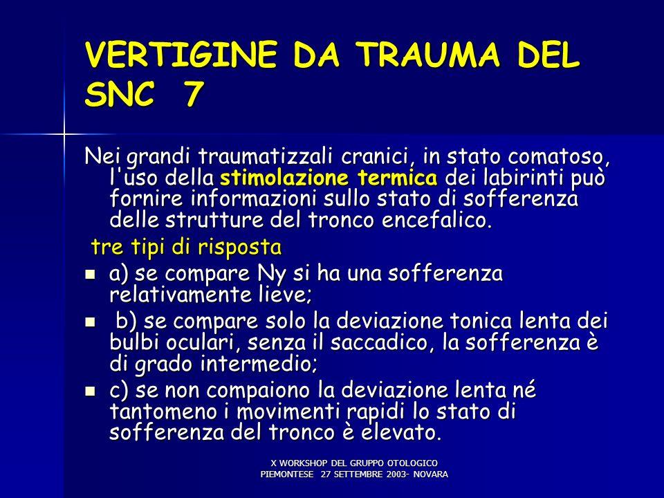 X WORKSHOP DEL GRUPPO OTOLOGICO PIEMONTESE 27 SETTEMBRE 2003- NOVARA VERTIGINE DA TRAUMA DEL SNC 7 Nei grandi traumatizzali cranici, in stato comatoso