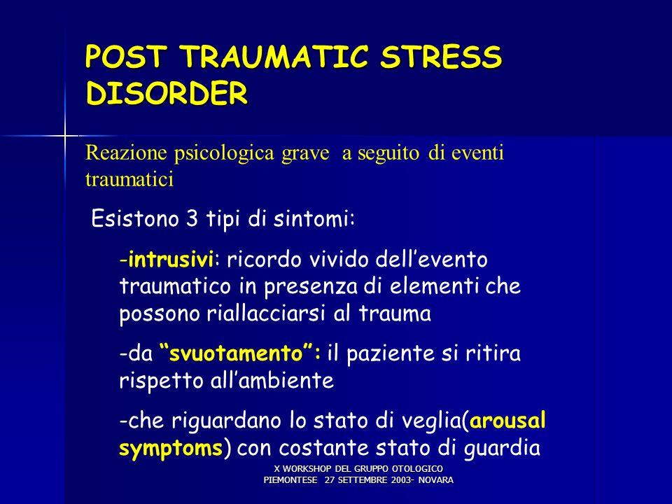 X WORKSHOP DEL GRUPPO OTOLOGICO PIEMONTESE 27 SETTEMBRE 2003- NOVARA VERTIGINE PSICOGENA Reazione psicologica grave a seguito di eventi traumatici Esi