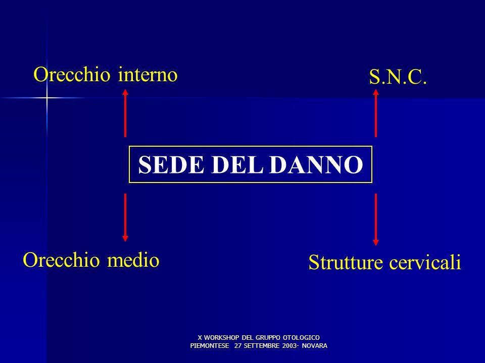 X WORKSHOP DEL GRUPPO OTOLOGICO PIEMONTESE 27 SETTEMBRE 2003- NOVARA SEDE DEL DANNO Orecchio interno Orecchio medio S.N.C. Strutture cervicali