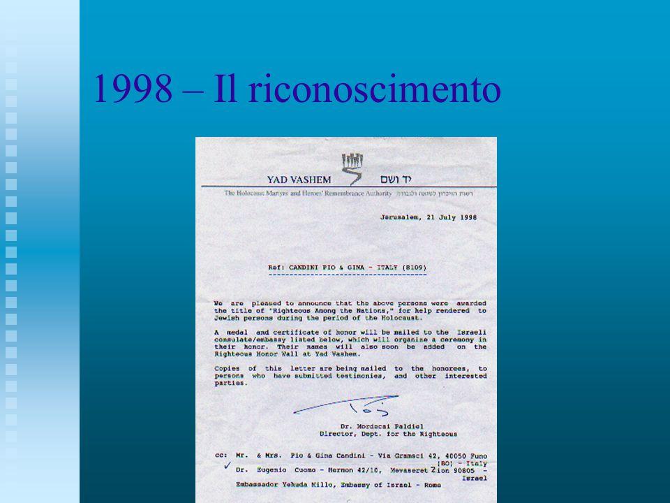 1998 – Il riconoscimento