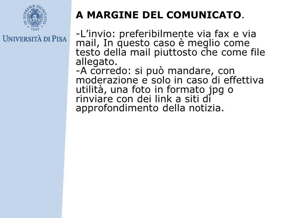 A MARGINE DEL COMUNICATO.