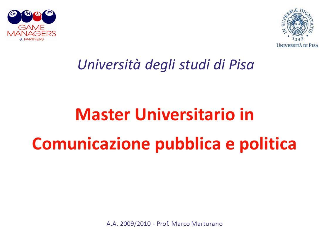 A.A. 2009/2010 - Prof. Marco Marturano Master Universitario in Comunicazione pubblica e politica Università degli studi di Pisa