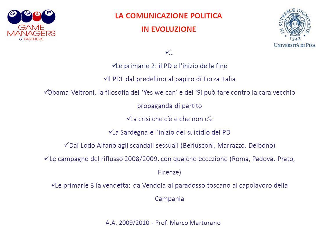 A.A. 2009/2010 - Prof. Marco Marturano LA COMUNICAZIONE POLITICA IN EVOLUZIONE … Le primarie 2: il PD e linizio della fine Il PDL dal predellino al pa