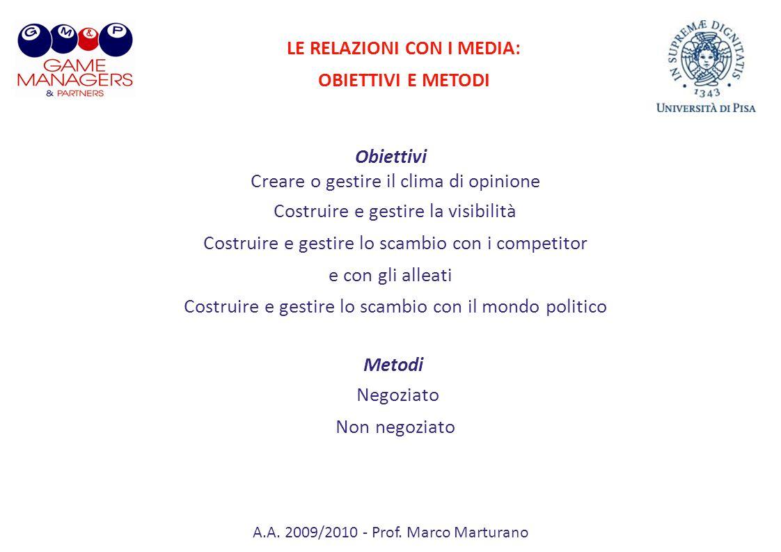 A.A. 2009/2010 - Prof. Marco Marturano Obiettivi Creare o gestire il clima di opinione Costruire e gestire la visibilità Costruire e gestire lo scambi
