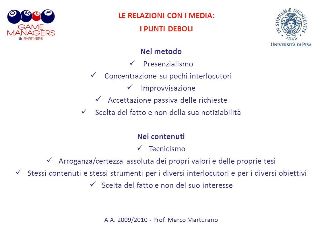 A.A. 2009/2010 - Prof. Marco Marturano Nel metodo Presenzialismo Concentrazione su pochi interlocutori Improvvisazione Accettazione passiva delle rich