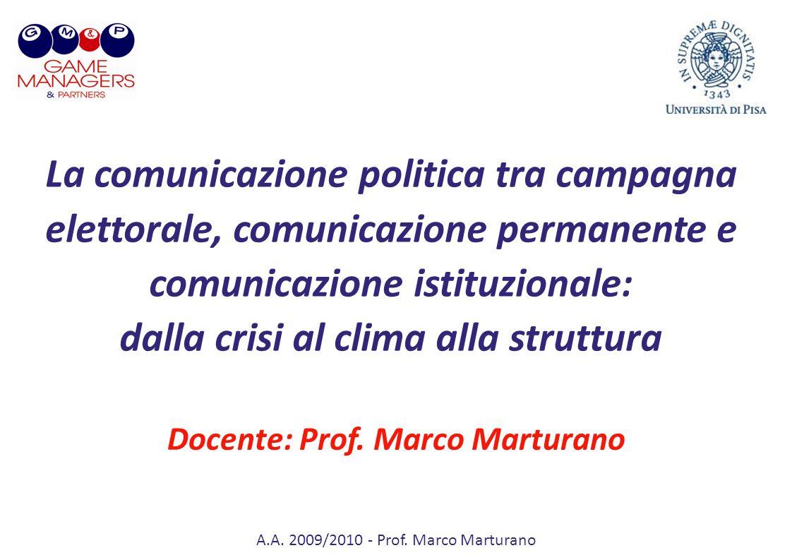 A.A. 2009/2010 - Prof. Marco Marturano La comunicazione politica tra campagna elettorale, comunicazione permanente e comunicazione istituzionale: dall