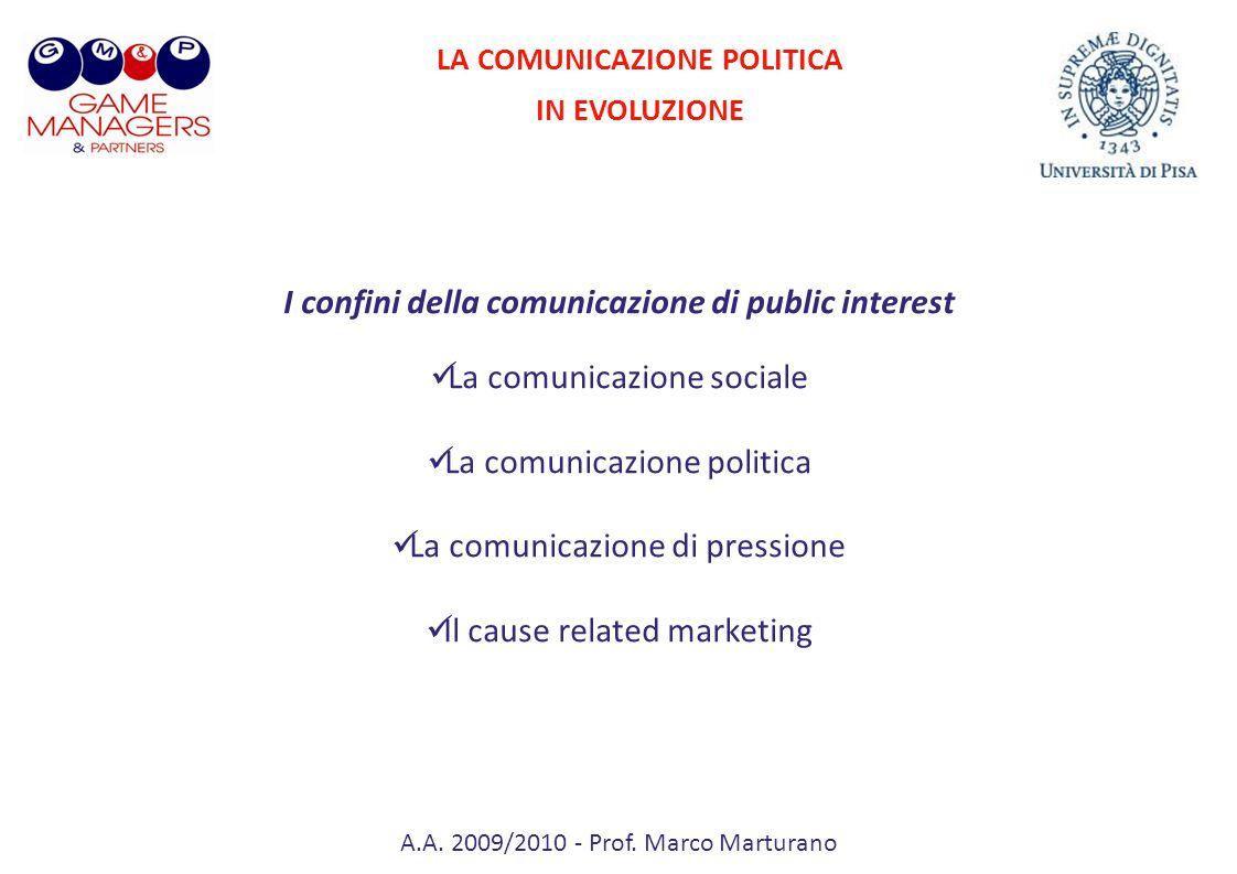 A.A. 2009/2010 - Prof. Marco Marturano I confini della comunicazione di public interest La comunicazione sociale La comunicazione politica La comunica
