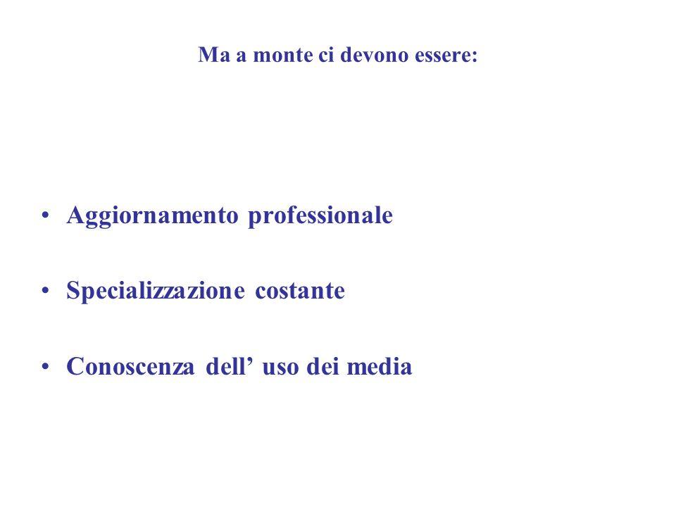Ma a monte ci devono essere: Aggiornamento professionale Specializzazione costante Conoscenza dell uso dei media