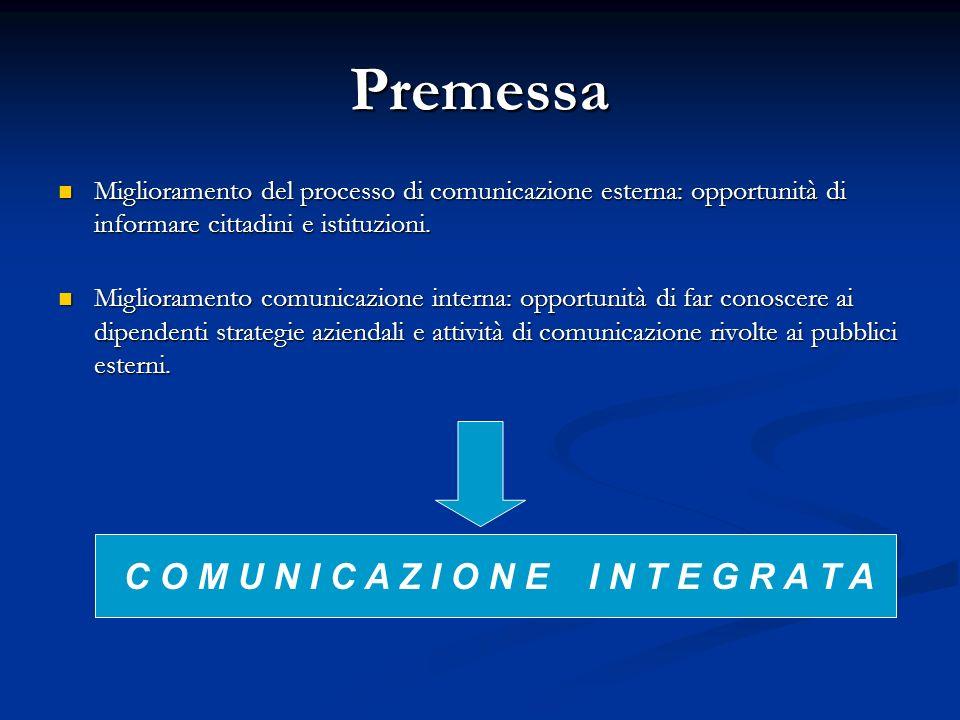 Premessa Miglioramento del processo di comunicazione esterna: opportunità di informare cittadini e istituzioni.