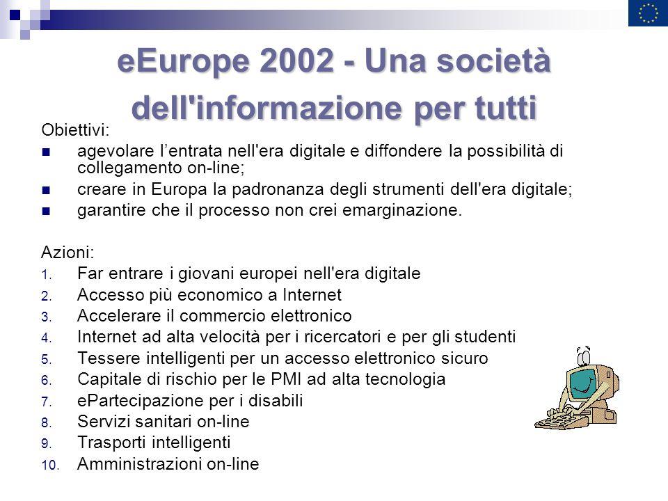 eEurope 2002 - Una società dell'informazione per tutti Obiettivi: agevolare lentrata nell'era digitale e diffondere la possibilità di collegamento on-