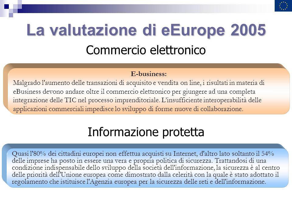 La valutazione di eEurope 2005 E-business: Malgrado l'aumento delle transazioni di acquisito e vendita on line, i risultati in materia di eBusiness de