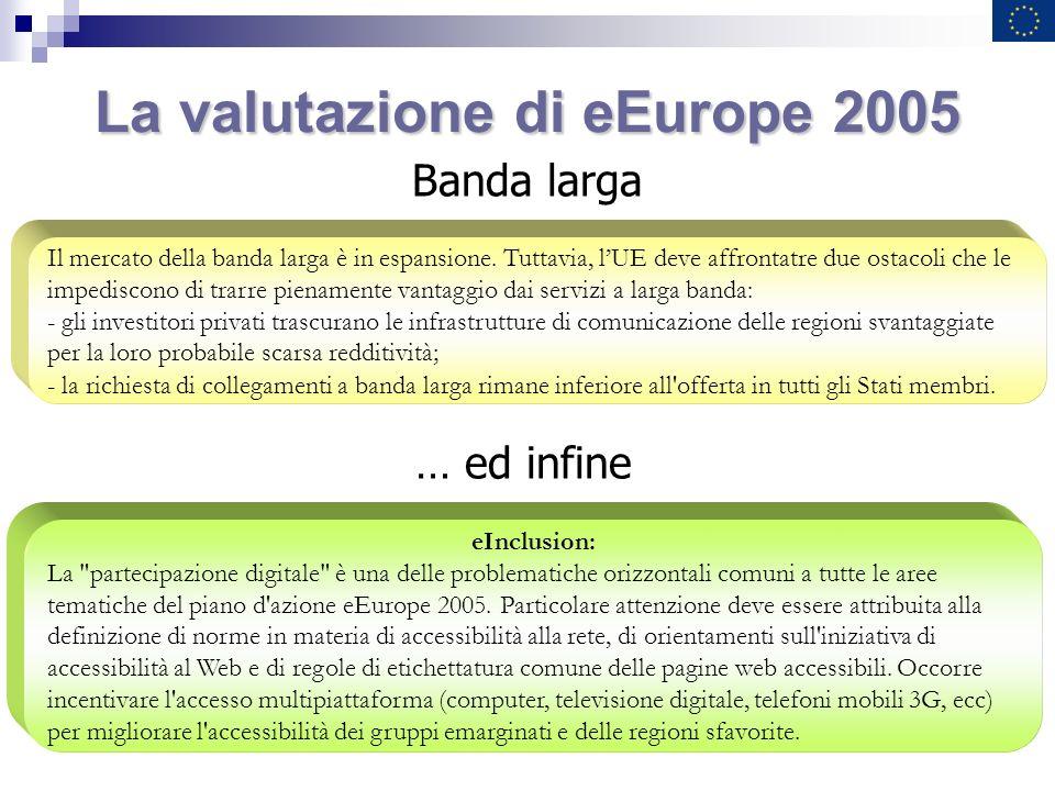 La valutazione di eEurope 2005 Banda larga Il mercato della banda larga è in espansione. Tuttavia, lUE deve affrontatre due ostacoli che le impediscon