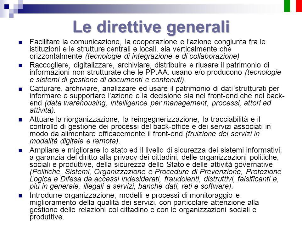 Le direttive generali Facilitare la comunicazione, la cooperazione e lazione congiunta fra le istituzioni e le strutture centrali e locali, sia vertic