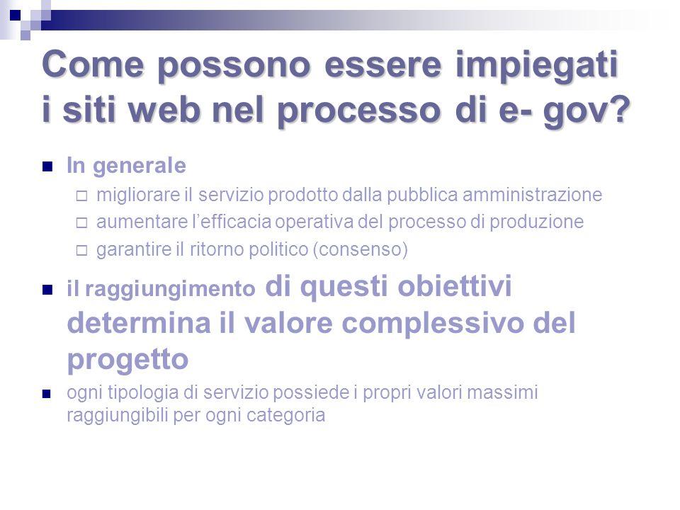 Come possono essere impiegati i siti web nel processo di e- gov? In generale migliorare il servizio prodotto dalla pubblica amministrazione aumentare