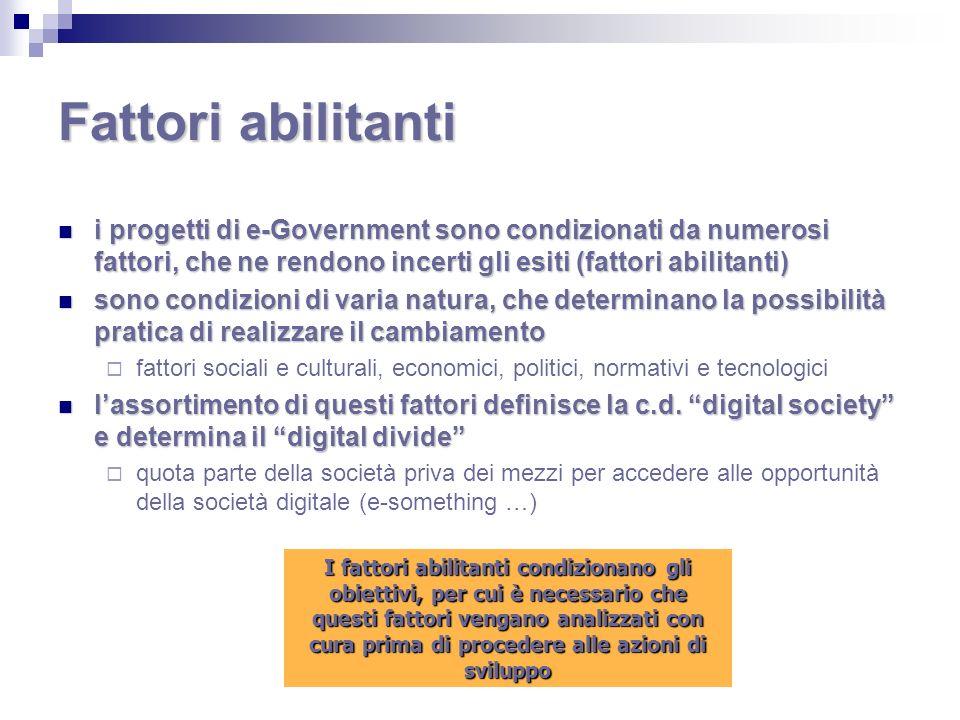 Fattori abilitanti i progetti di e-Government sono condizionati da numerosi fattori, che ne rendono incerti gli esiti (fattori abilitanti) i progetti
