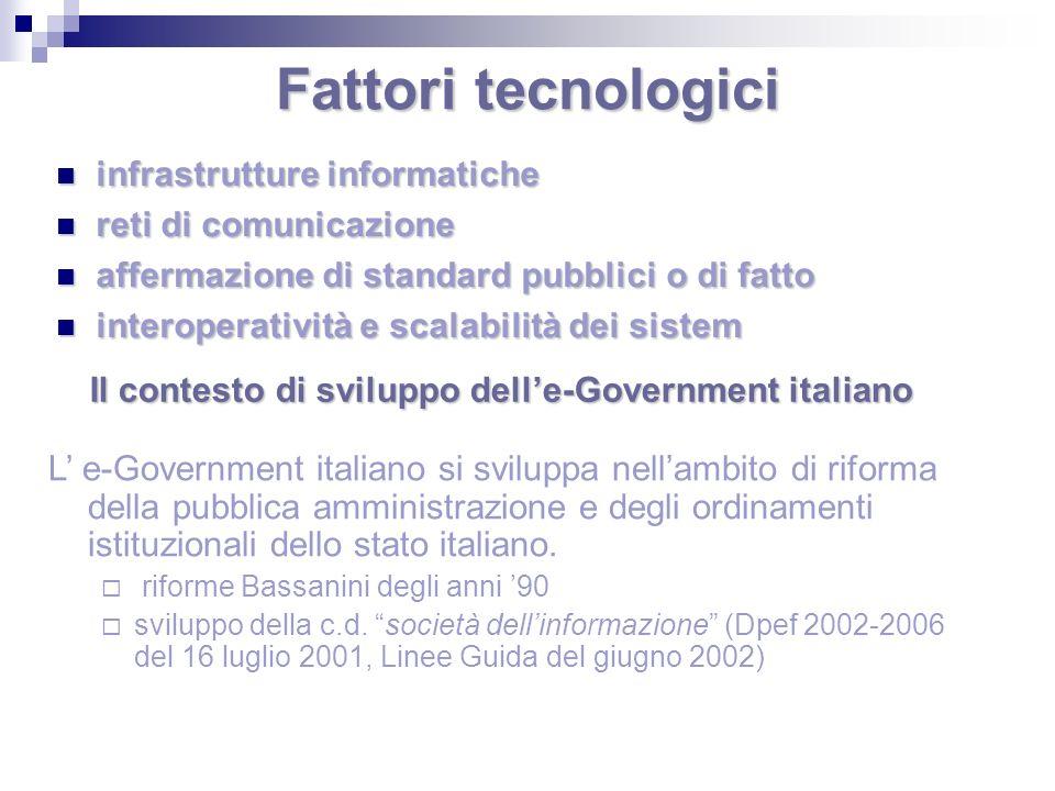 Fattori tecnologici infrastrutture informatiche infrastrutture informatiche reti di comunicazione reti di comunicazione affermazione di standard pubbl