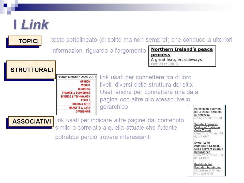 TOPICI STRUTTURALI ASSOCIATIVI link usati per indicare altre pagine dal contenuto simile o correlato a quella attuale che lutente potrebbe perciò trov