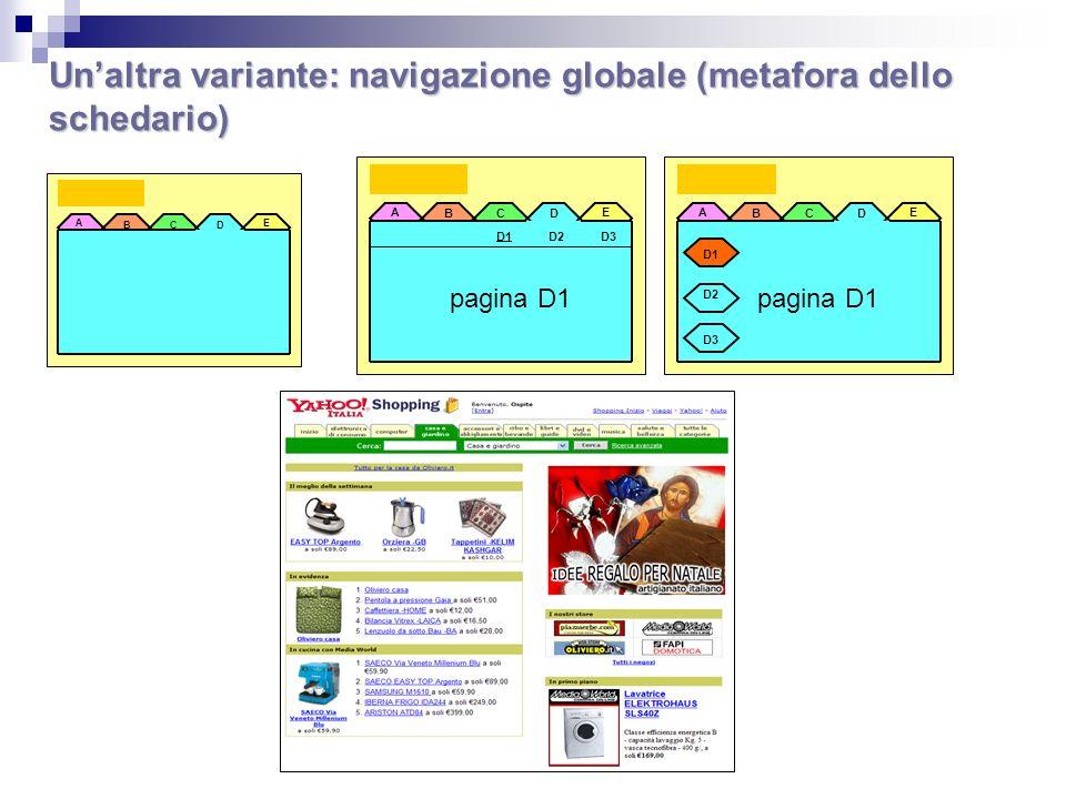 A BCD E Unaltra variante: navigazione globale (metafora dello schedario) A BCD E D1D2D3 pagina D1 A BCD E D1 D2 D3