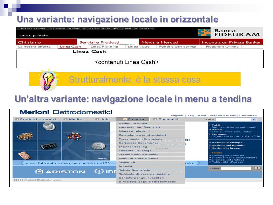 Una variante: navigazione locale in orizzontale Strutturalmente, è la stessa cosa Unaltra variante: navigazione locale in menu a tendina
