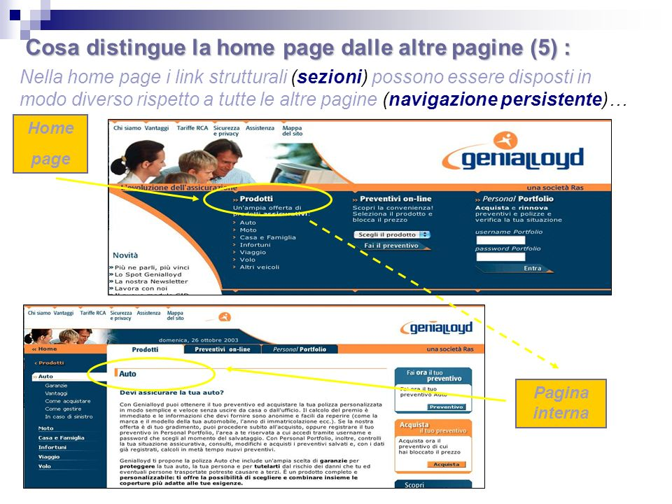 Nella home page i link strutturali (sezioni) possono essere disposti in modo diverso rispetto a tutte le altre pagine (navigazione persistente)… Home