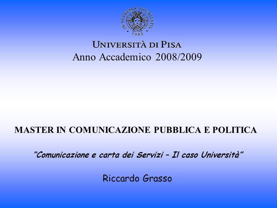 Anno Accademico 2008/2009 MASTER IN COMUNICAZIONE PUBBLICA E POLITICA Comunicazione e carta dei Servizi – Il caso Università Riccardo Grasso